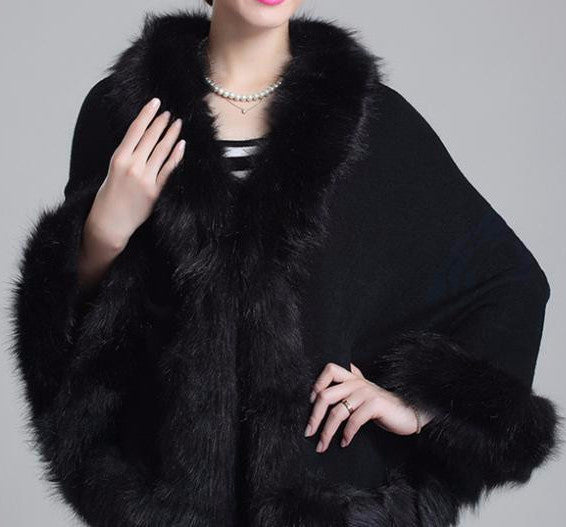 Fox Fur Collar Cape - Sassy Posh - 5