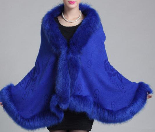 Fox Fur Collar Cape - Sassy Posh - 4