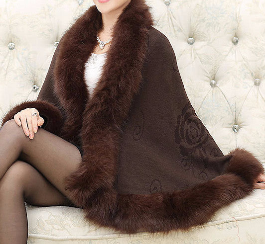 Fox Fur Collar Cape - Sassy Posh - 7