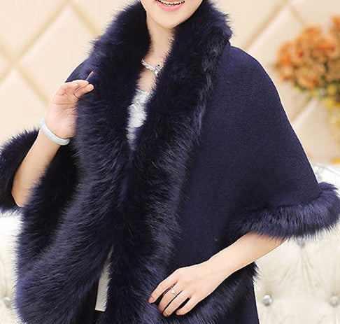 Fox Fur Collar Cape - Sassy Posh - 6