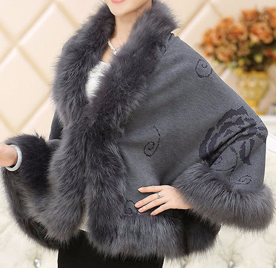 Fox Fur Collar Cape - Sassy Posh - 1
