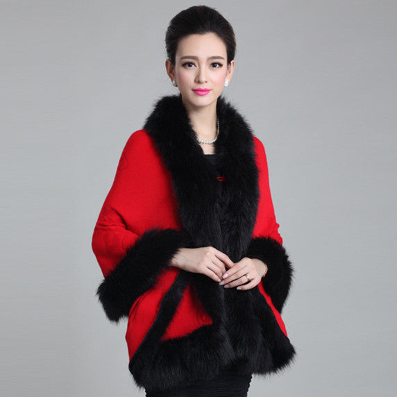 Fox Fur Collar Cape - Sassy Posh - 8