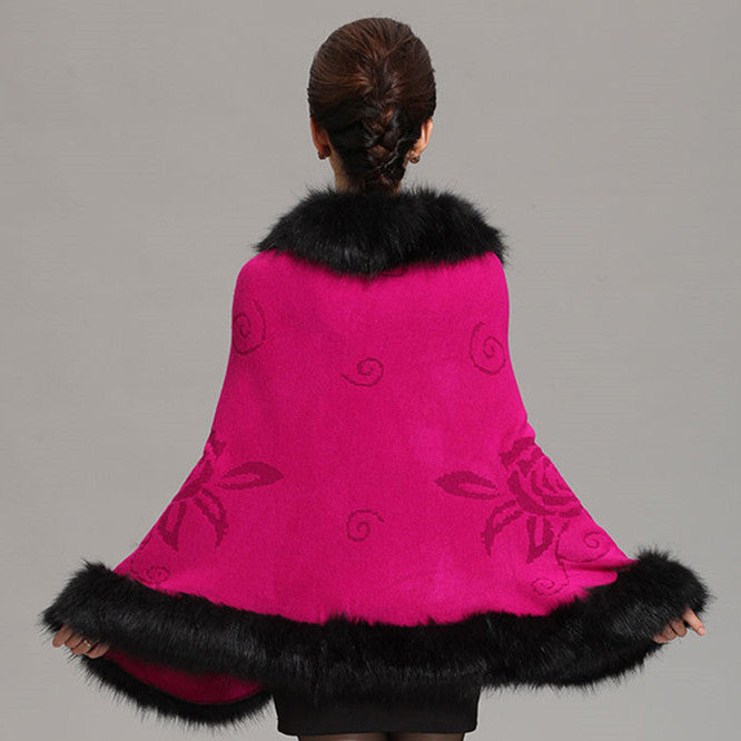Fox Fur Collar Cape