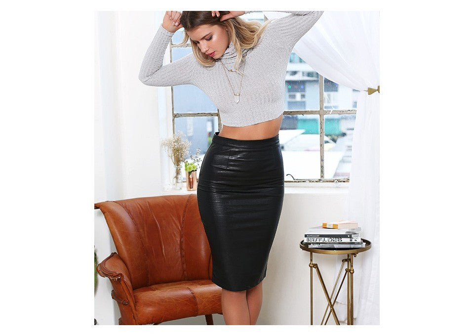 Faux Leather Sexy Pencil Skirt - Sassy Posh - 2