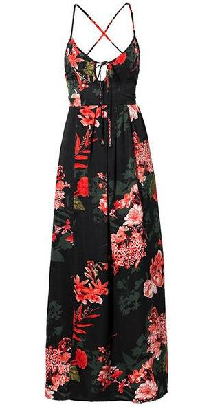 Floral Print Sexy Lace Up Maxi Dress