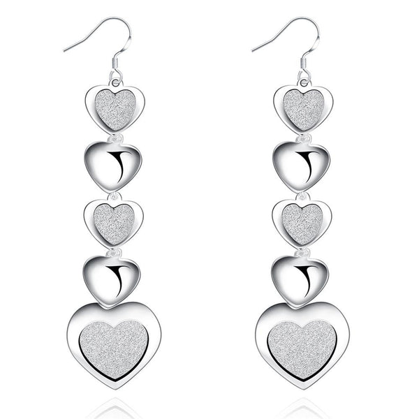 Infinity Hearts Drop Earring in White Gold Plated