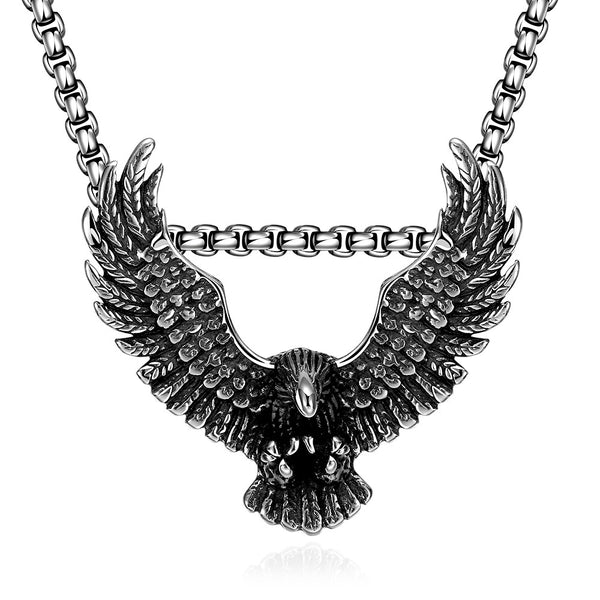Stainless Steel Flying Hawk Emblem Necklace