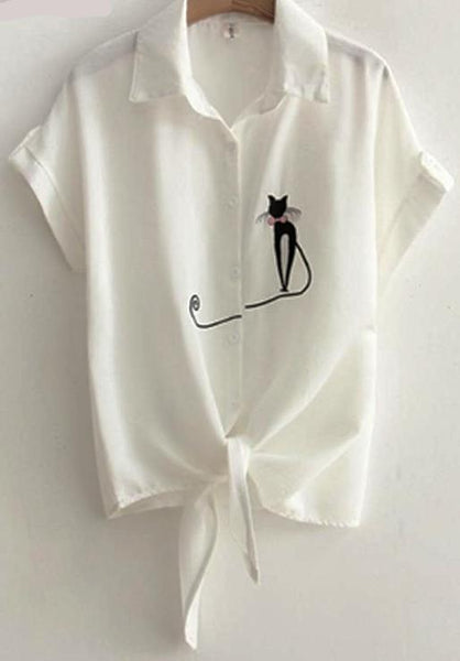 Cats Meow Short Sleeve Embroidered Shirt