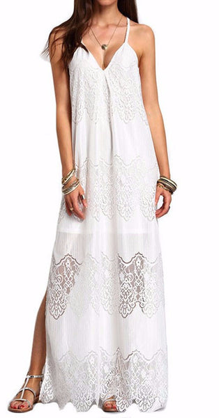 Lace V Neck Split Slip Sleeveless Maxi