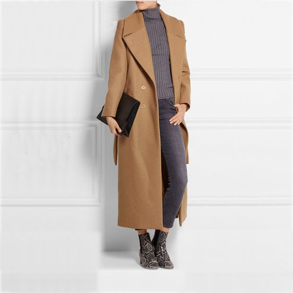 Long Women's Camel Overcoat