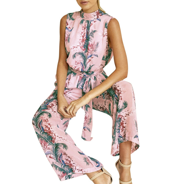Floral Wide Leg Pants Sleeveless Jumpsuit
