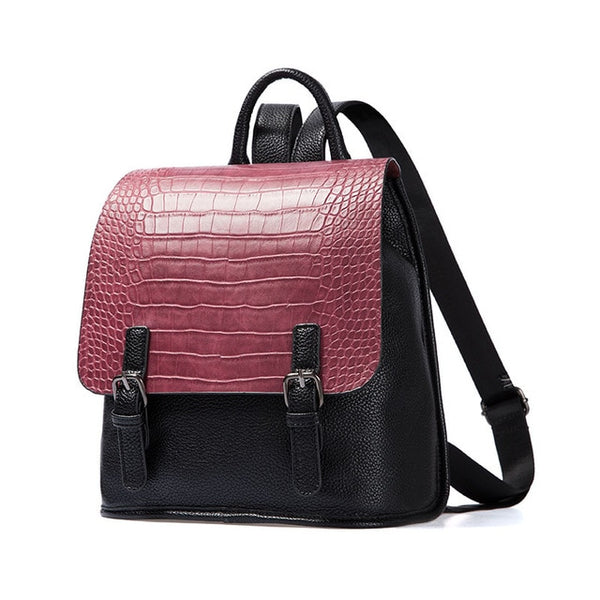 AMELIE GALANTI Backpack Crocodile Embossed Leather with Zipper