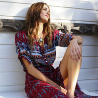 Bohemian floral button-up Front split Maxi