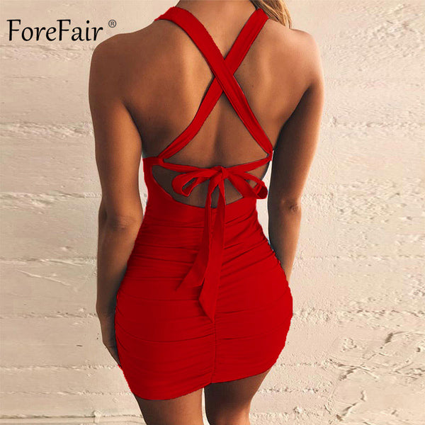 Bandage Cut Out Ruched Backless Dress