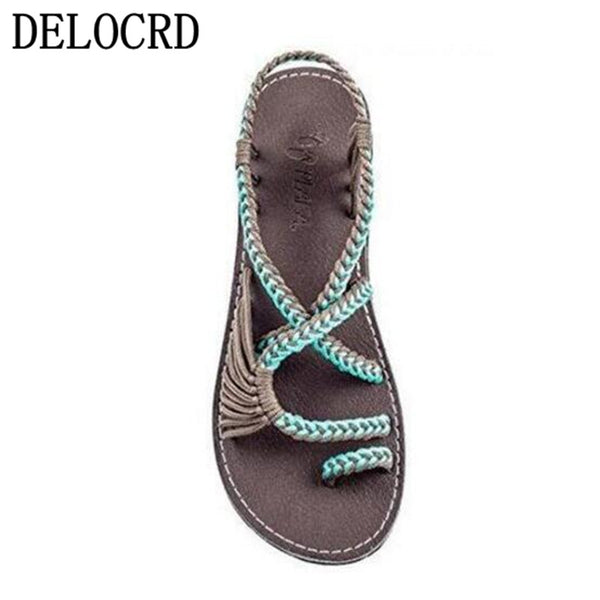 Rope knot Circle toe flat Sandal