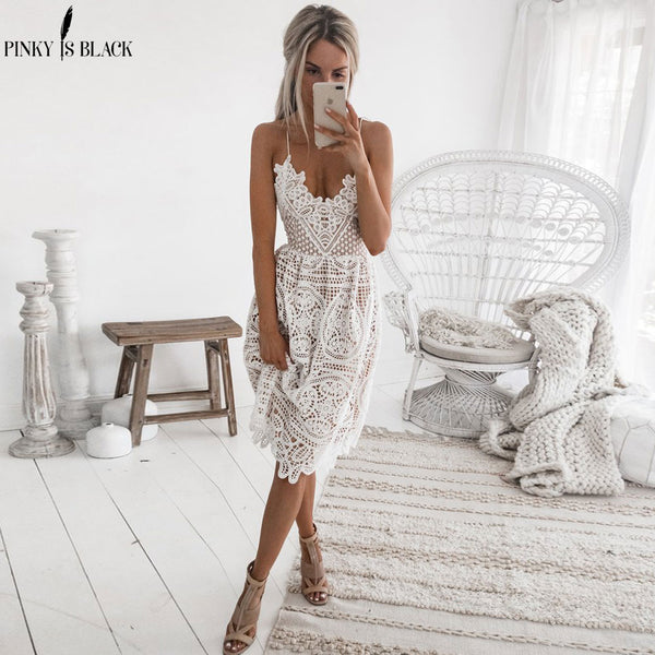 V Neck Backless Lace Dress