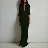 Long Sleeve Deep V Neck Linen Split Maxi Dress - Sassy Posh - 3