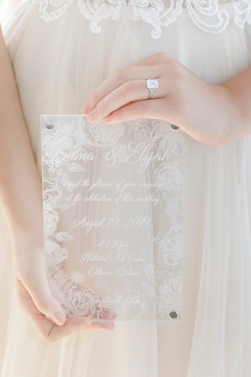 Floral Acrylic Wedding Invitations
