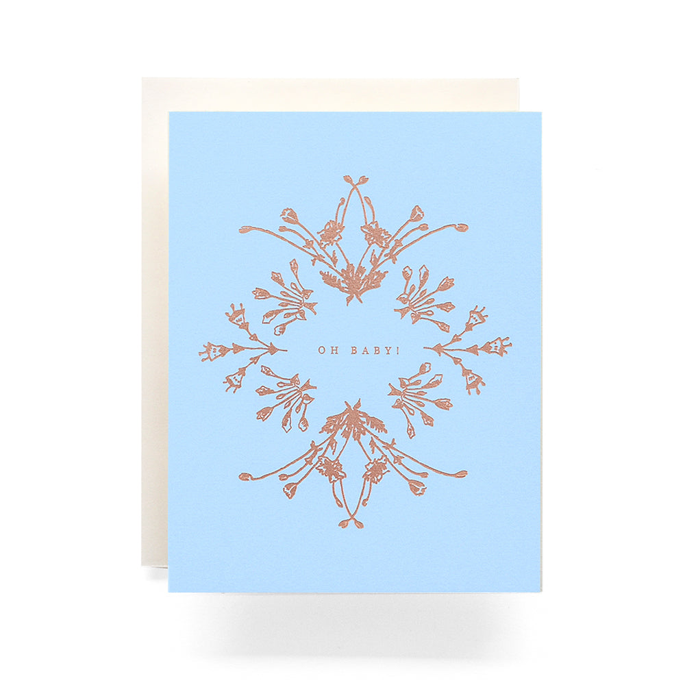 Botanical Wreath Oh Baby Greeting Card, Blue