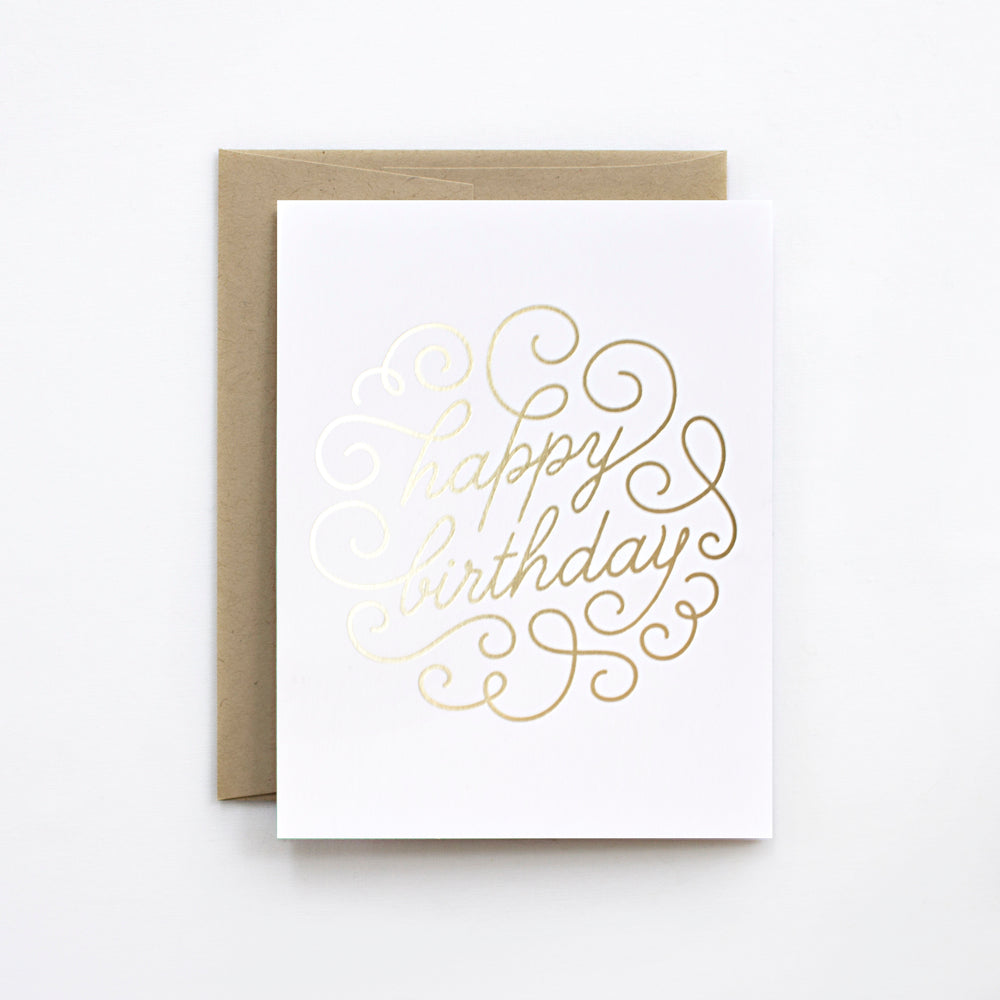 Birthday Swirl Gold Foil