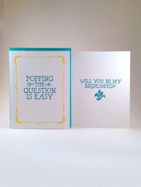 Will You Be My Bridesmaid Letterpressed Card Set (5 cards)