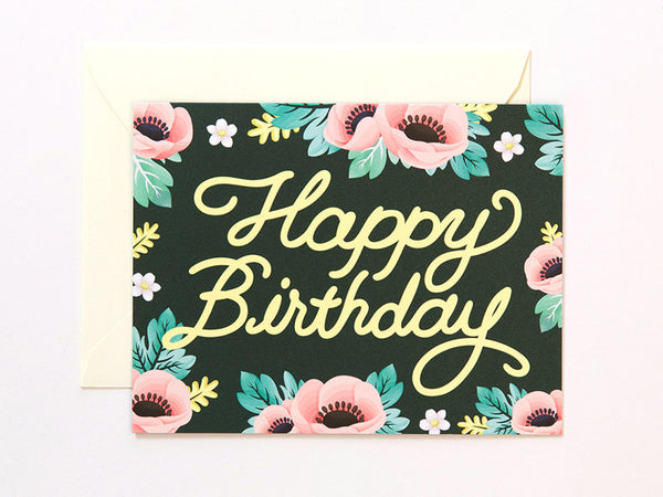Anemone Birthday Card - Deep Green