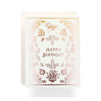 Scandinavian Happy Birthday Greeting Card, Rosegold Foil