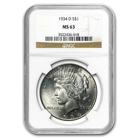 dmint peace silver dollar ngc certified ms63
