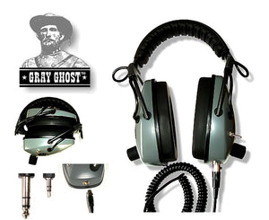 Gray Ghost NDT (NO DOWN TIME) headphones for metal detectors, Includes back up cable.