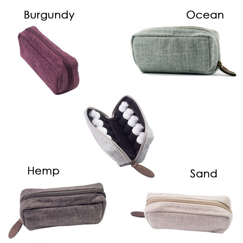 10 Bottle - Hemp Travel Essential Oil Carry Bag (4 Colors)