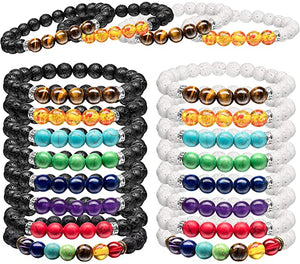Load image into Gallery viewer, Unisex Lava Stone Chakra Bracelet