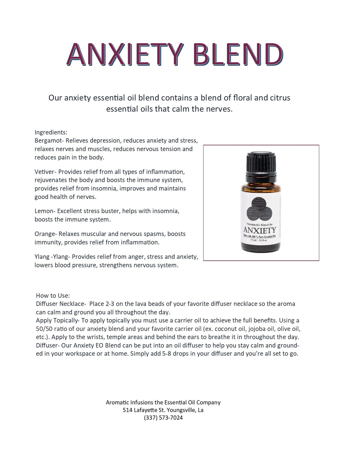 Anxiety Blend 15ml - Aromatic Infusions