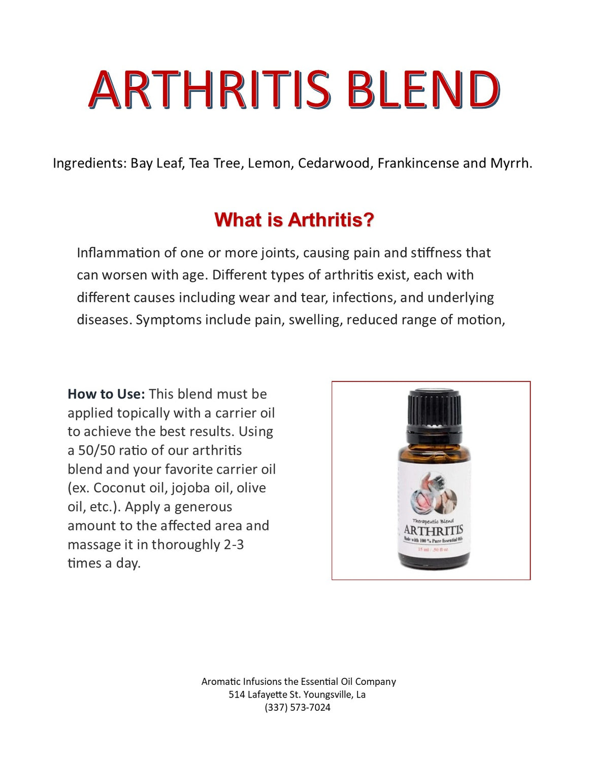 Arthritis Blend 15ml - Aromatic Infusions