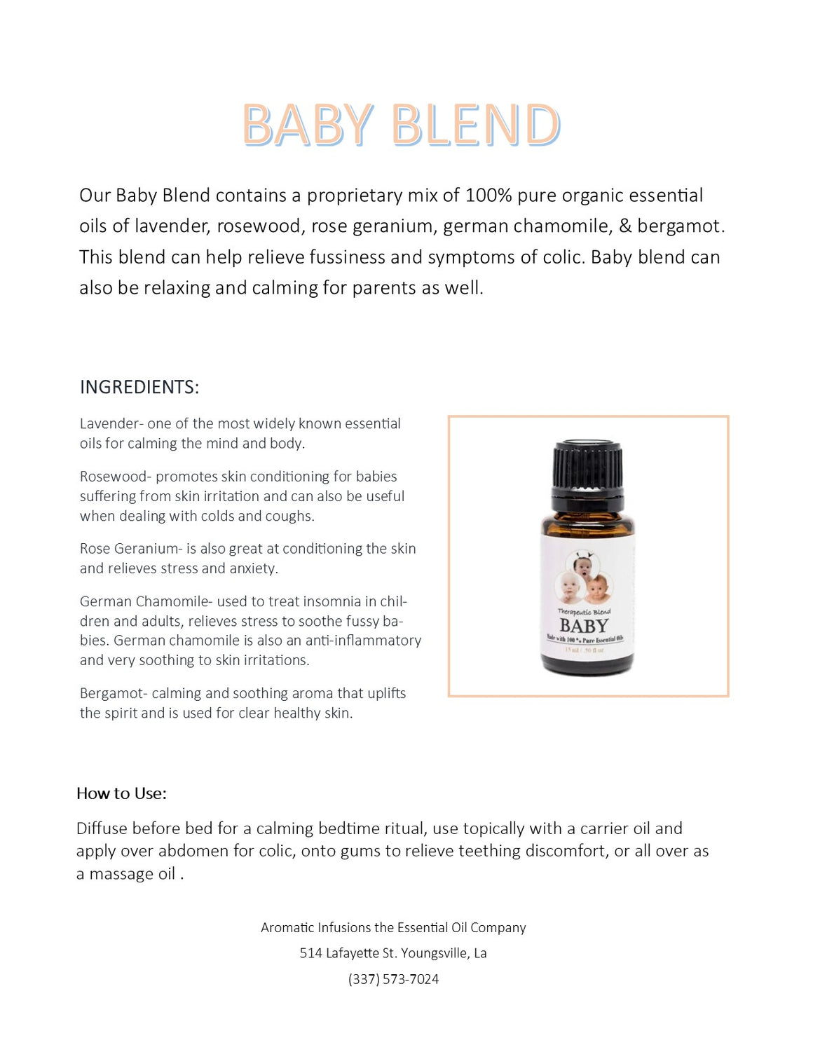 Baby Blend 15ml - Aromatic Infusions