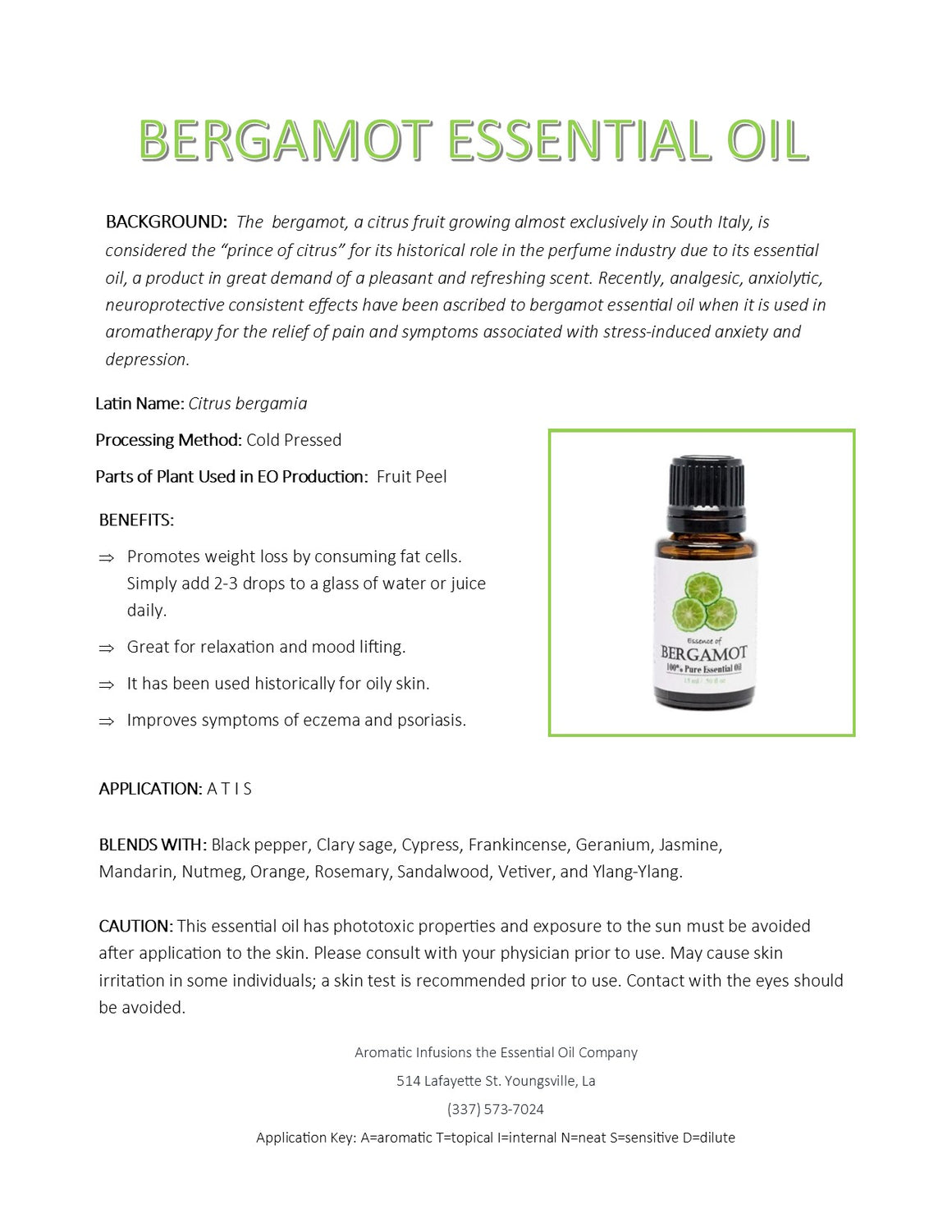 Bergamot Essential Oil 15ml - Aromatic Infusions