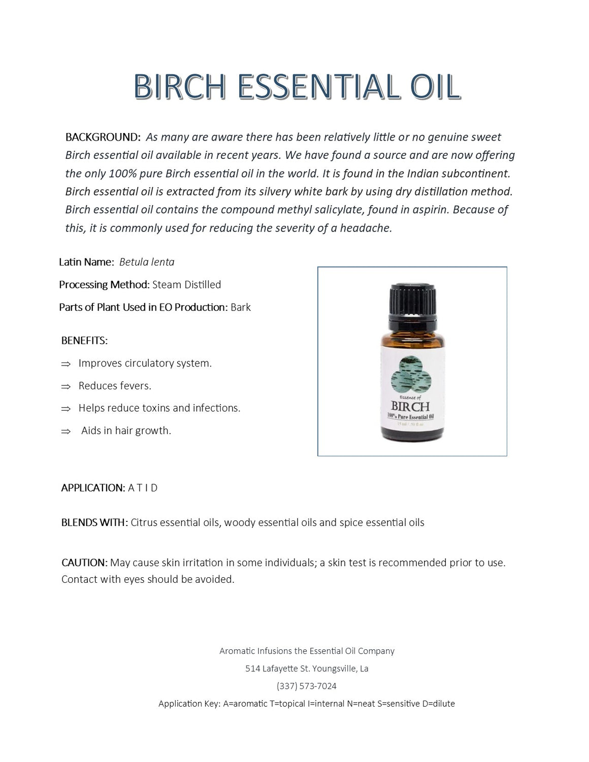 Birch Essential Oil 15ml - Aromatic Infusions