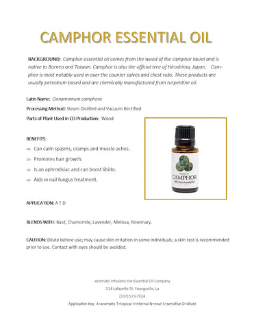 Camphor Essential Oil 15ml - Aromatic Infusions