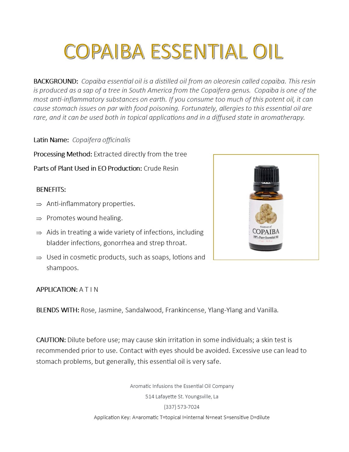 Copaiba Essential Oil 15ml - Aromatic Infusions