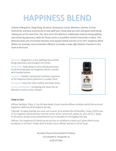 Happiness Blend 15ml - Aromatic Infusions