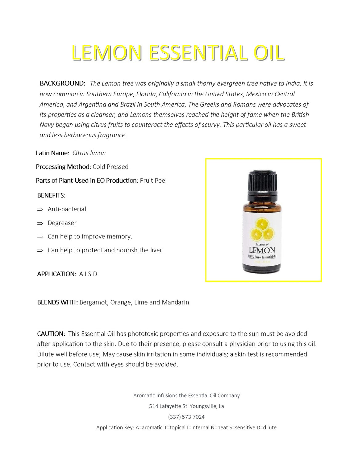 Lemon Essential Oil 15ml - Aromatic Infusions