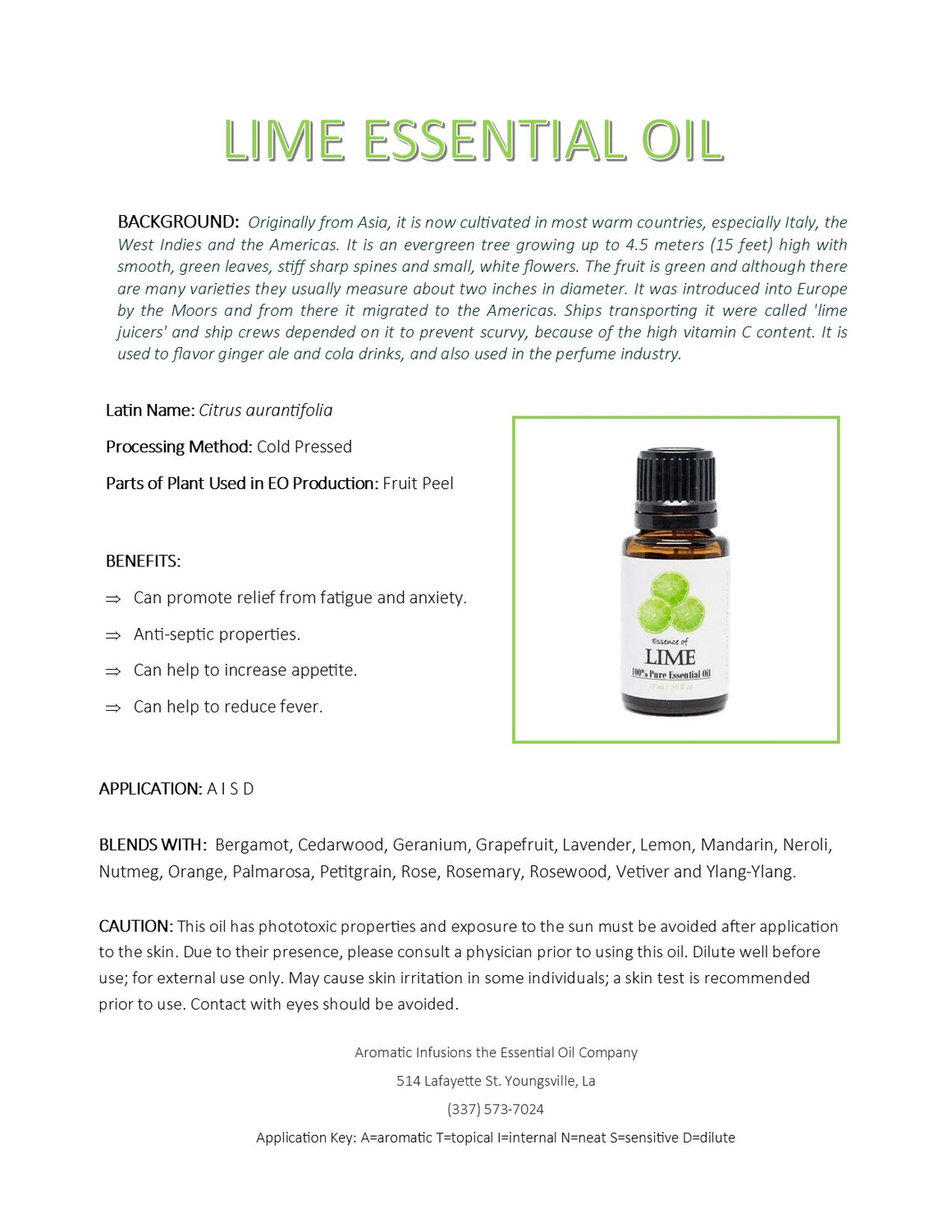 Lime Essential Oil 15ml - Aromatic Infusions