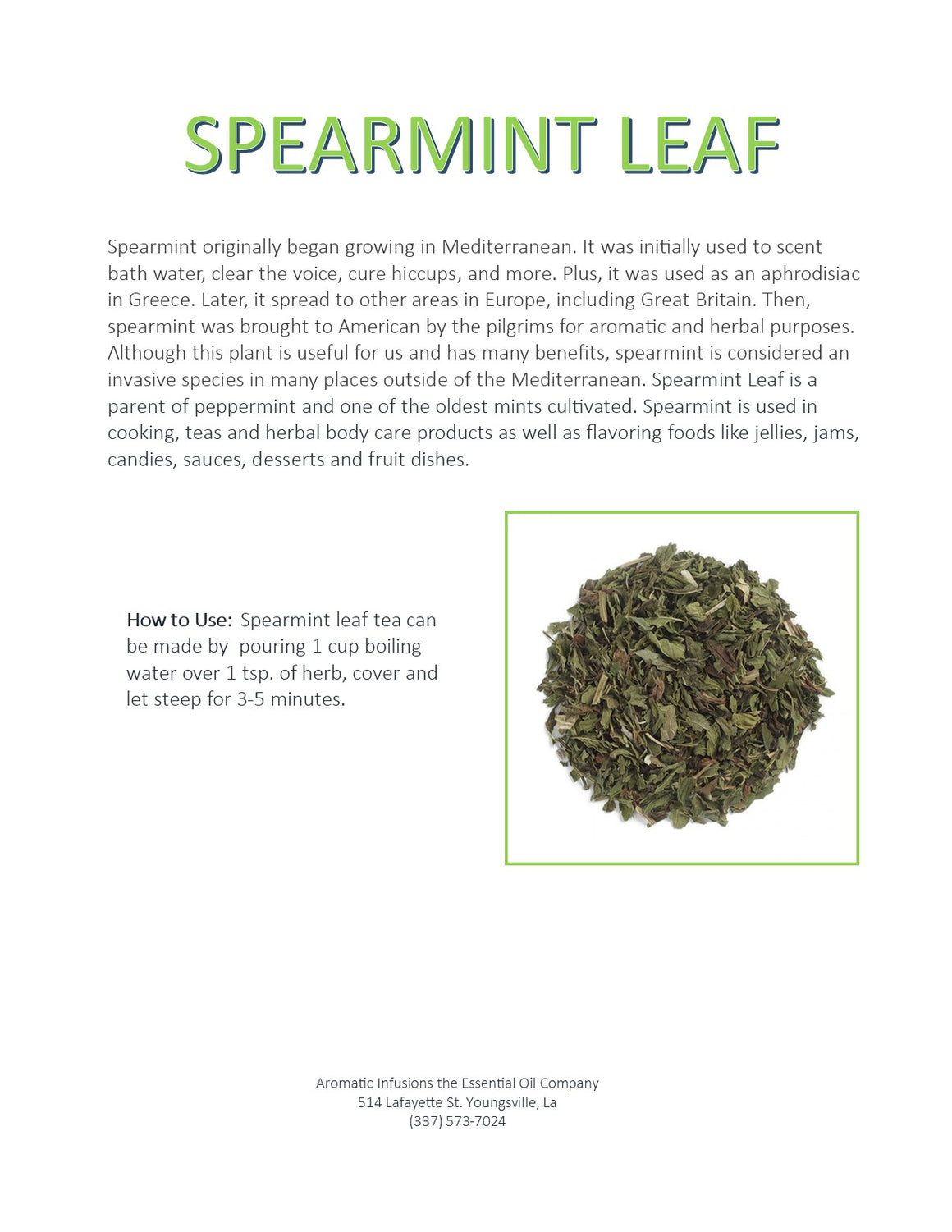 Spearmint Essential Oil 15ml - Aromatic Infusions