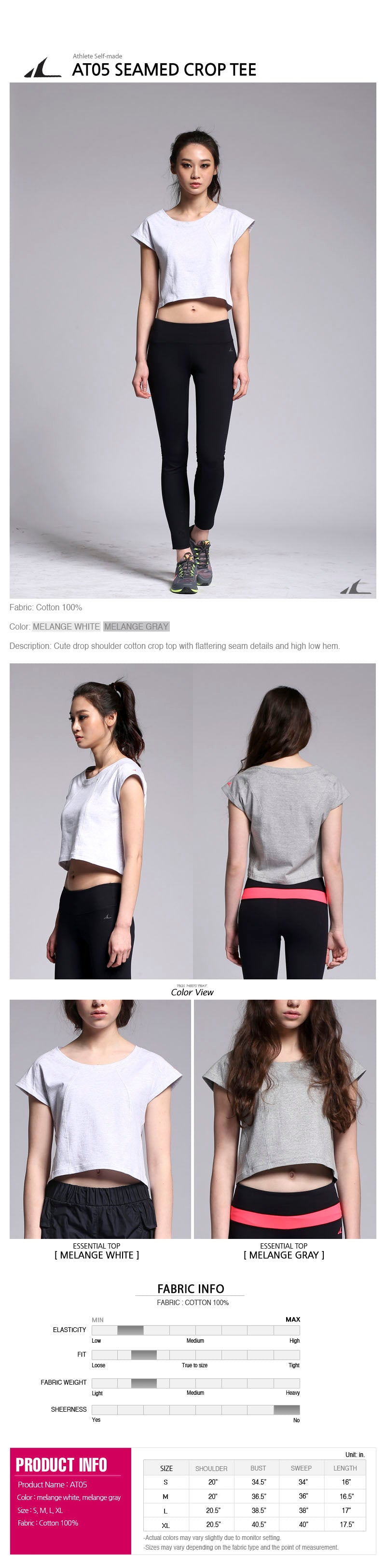 ATHLETE Women's Ria Crop Tee, Style AT05