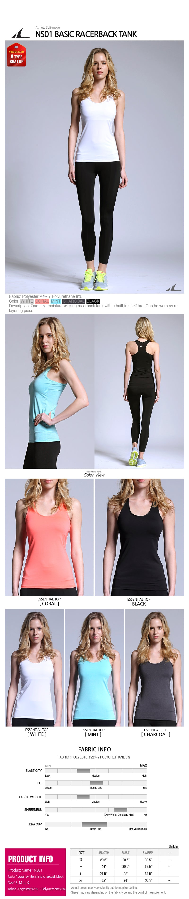 ATHLETE Women's Comfort Tank Top w/ removable pads, Style NS01