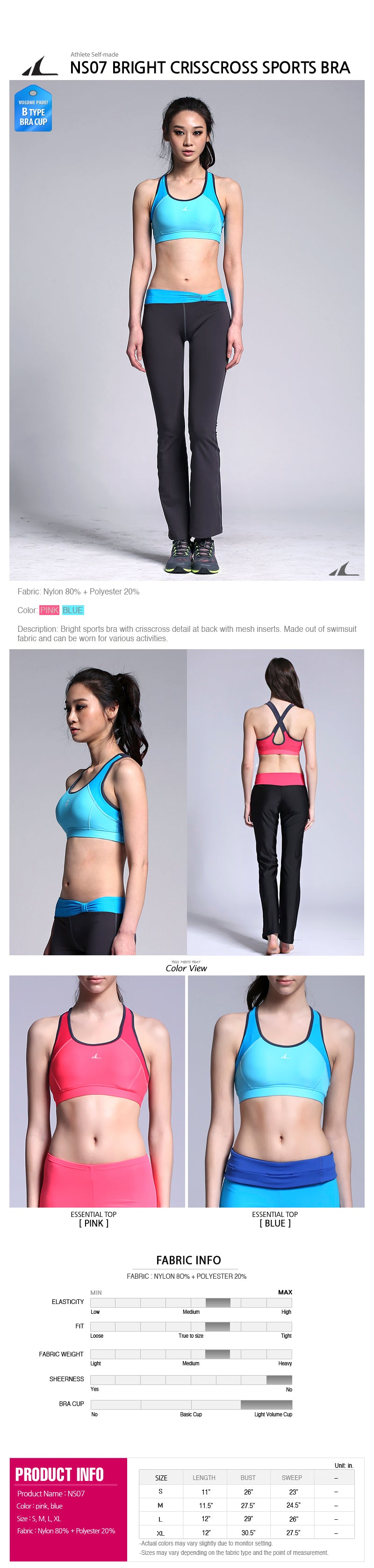 ATHLETE Women's Hairin Sports Bra w/ removable pads, Style NS07