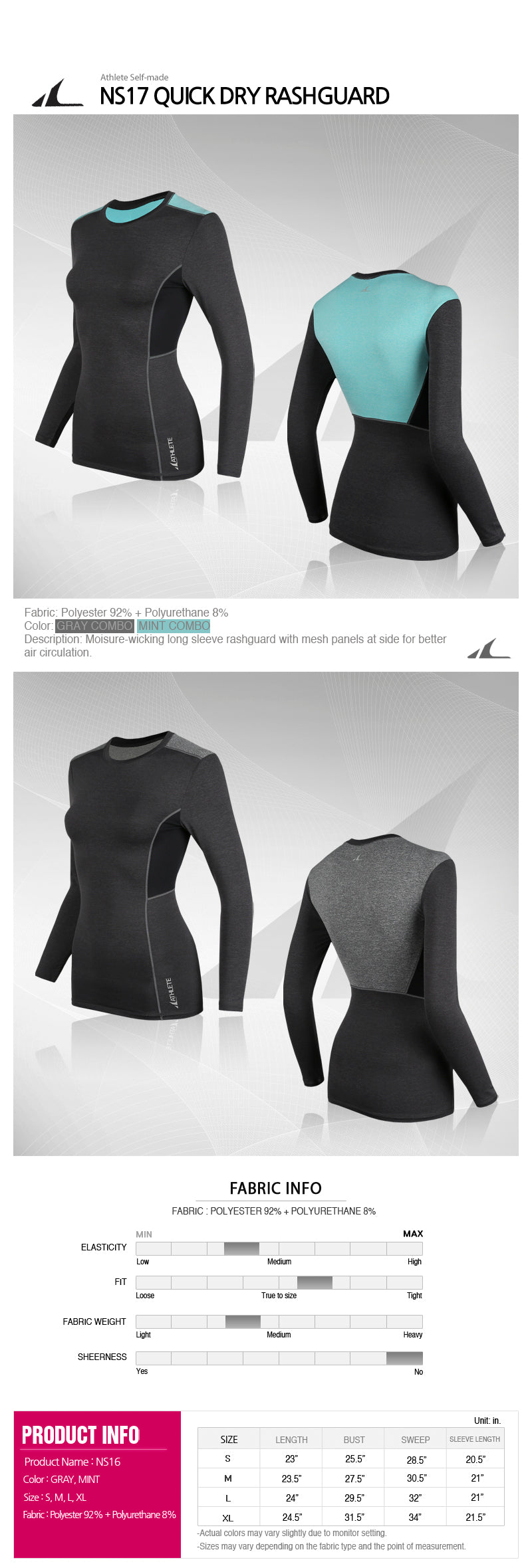 ATHLETE Women's Quick Dry Long Sleeve Rashguard Top, Style NS17