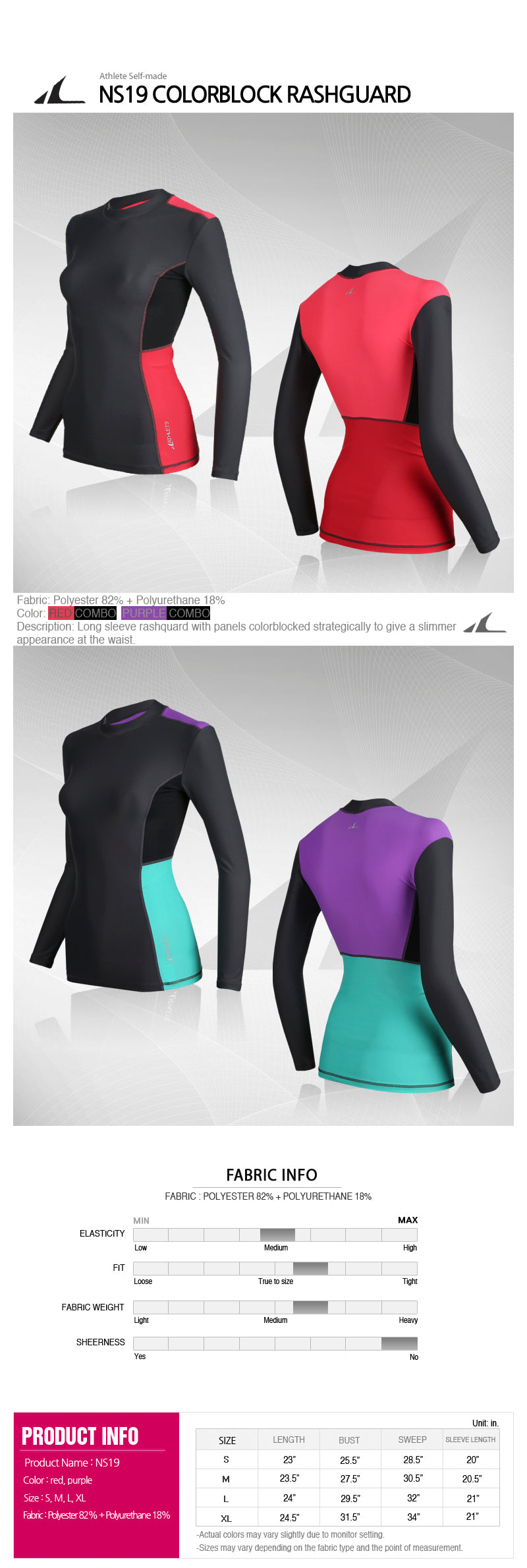 ATHLETE Women's Colorblock Compression Long Sleeve Rashguard Top, Style NS19