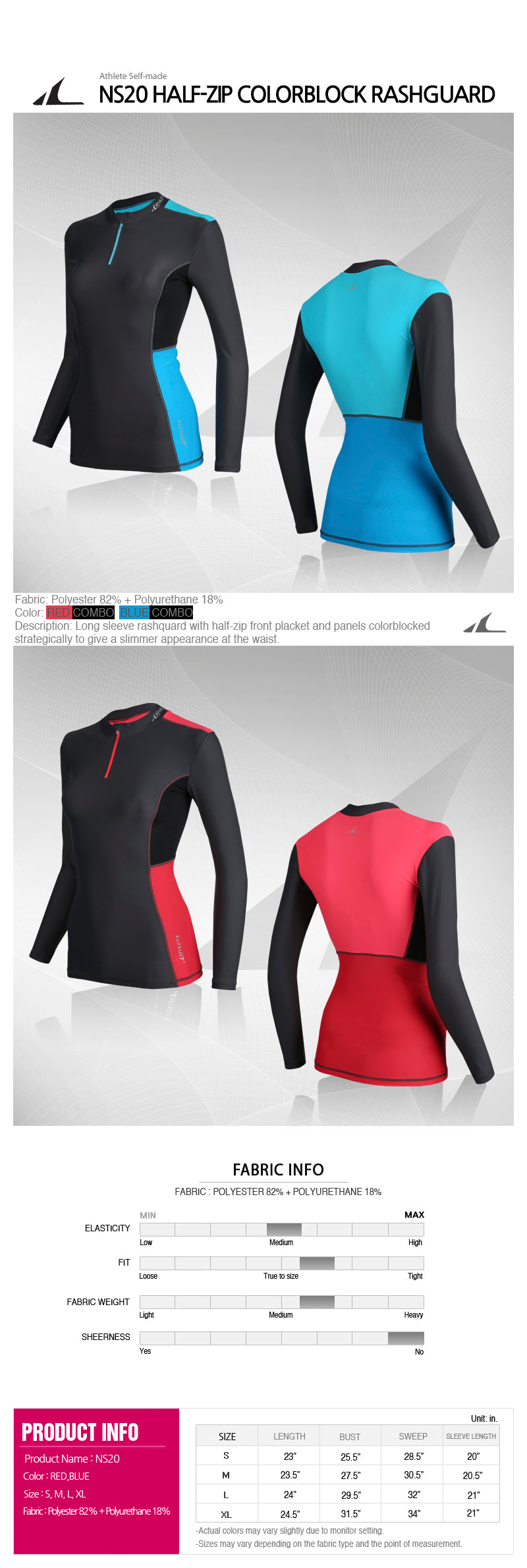 ATHLETE Women's Half-Zip Colorblock Rashguard Longsleeve Top, Style NS20