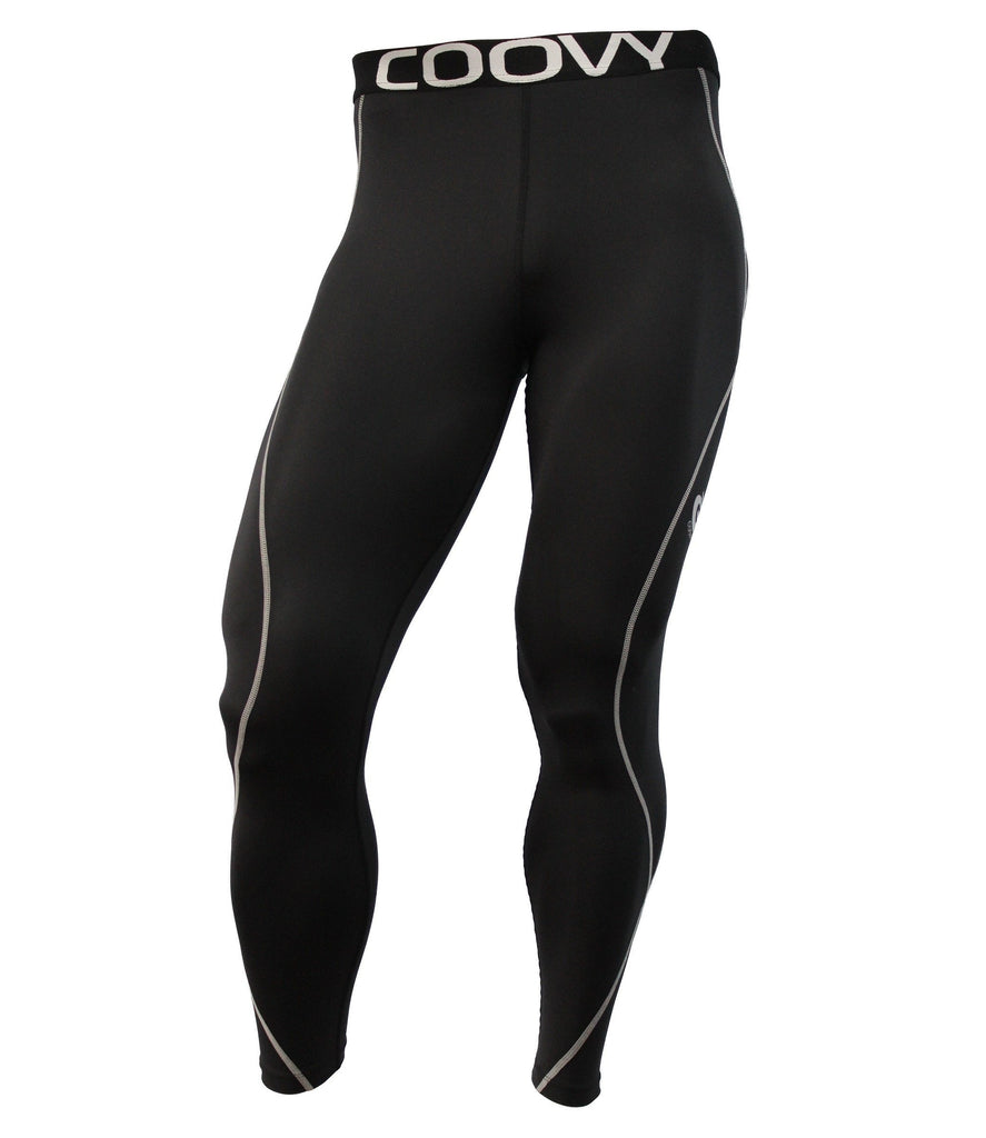 COOVY Men's Mid-Weight Compression Base Layer Leggings (black), Style N011