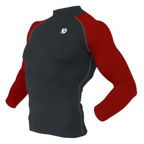COOVY Men's Long Sleeve Lightweight Compression Base Layer Shirts (black/red)